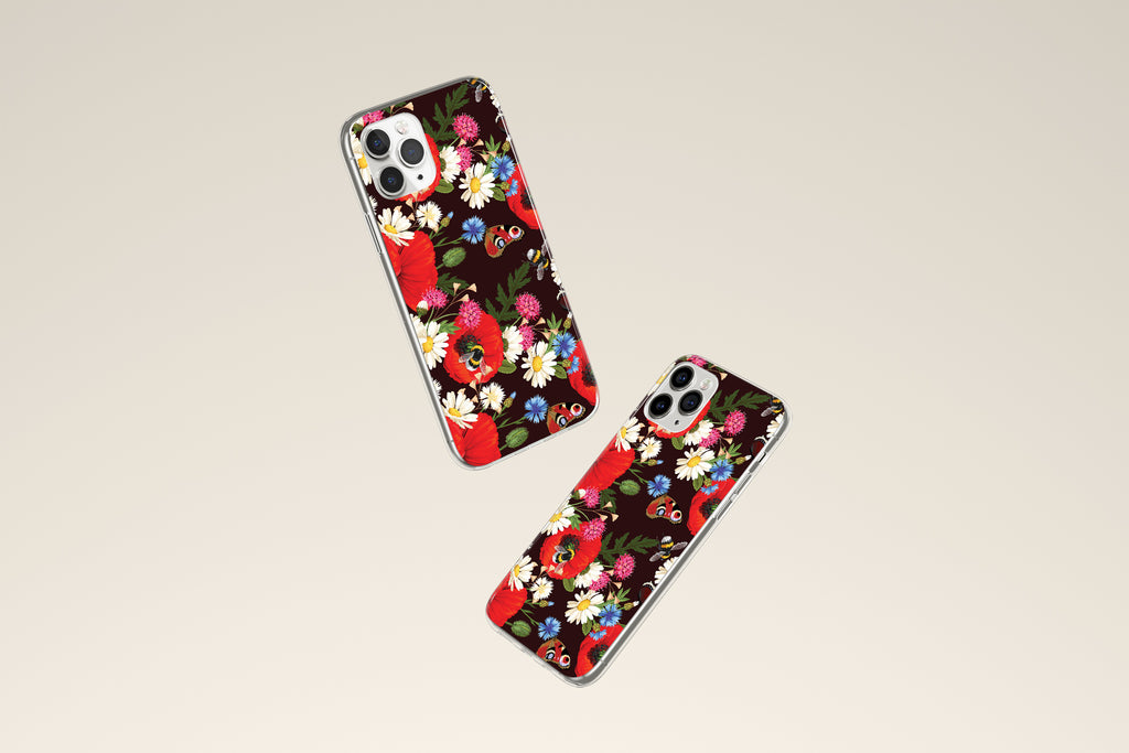 iPhone 11 Pro case with Summer Flowers design made by Life By Design Creations both sides view