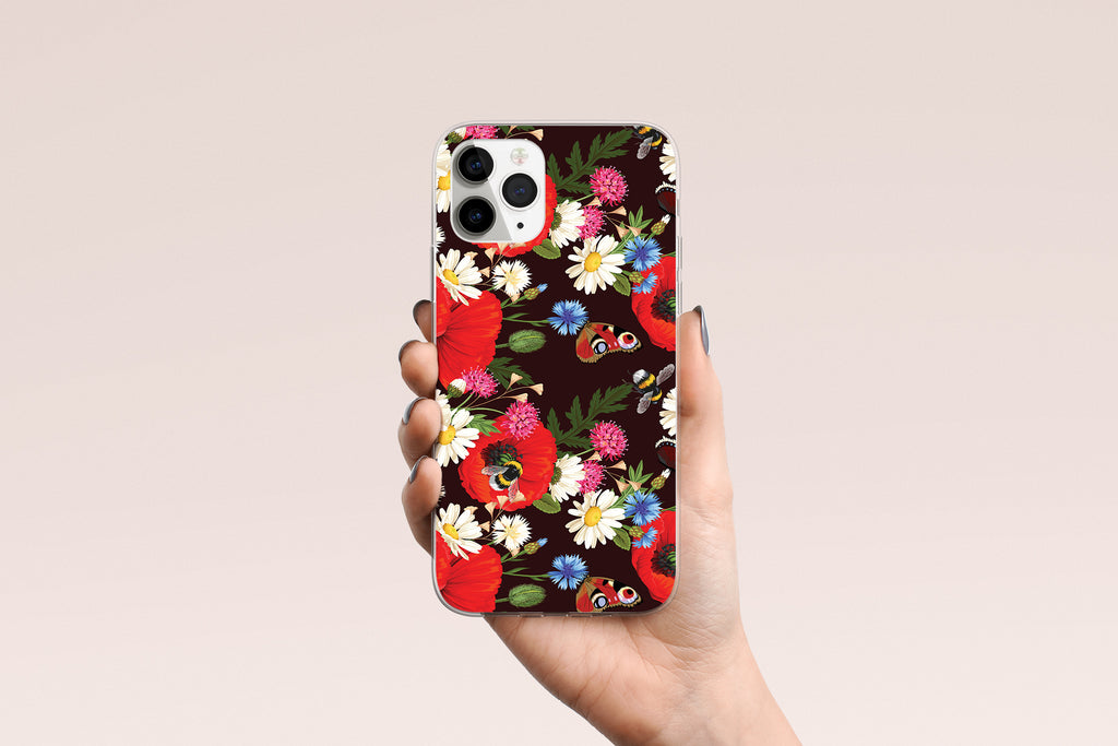 iPhone 11 Pro case with Summer Flowers design made by Life By Design Creations hand held view