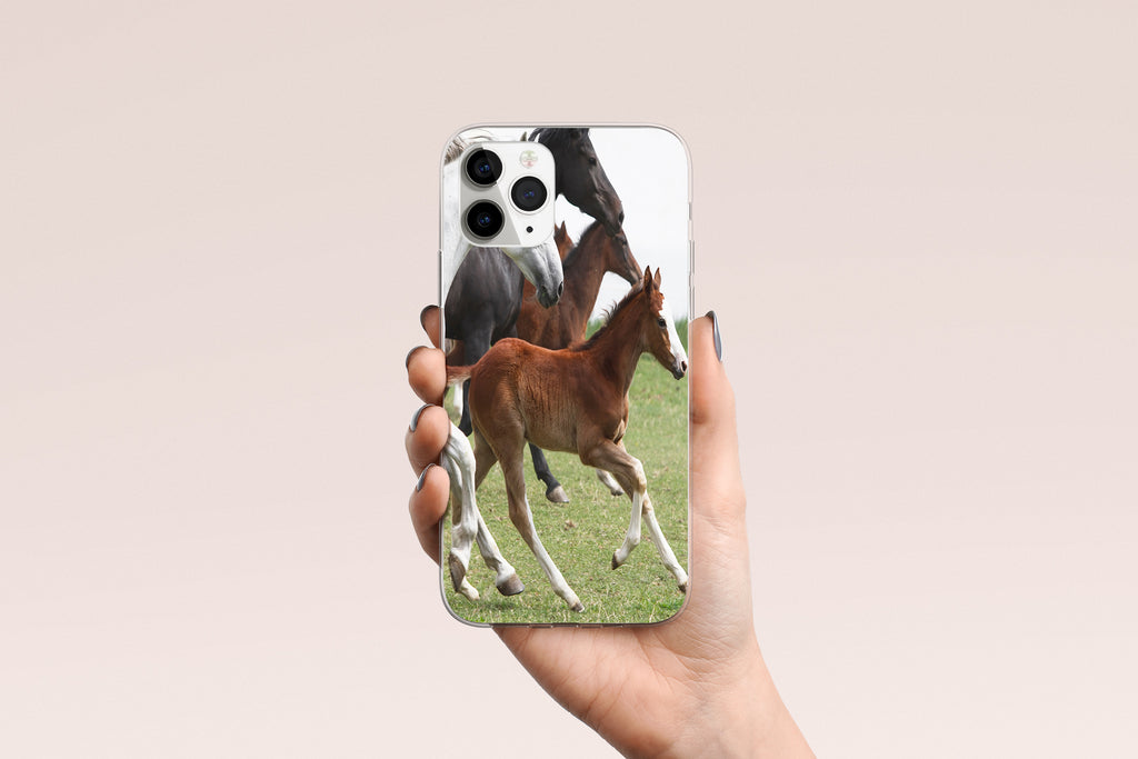 iPhone 11 Pro case with Wild Horses design made by Life By Design Creations hand held view