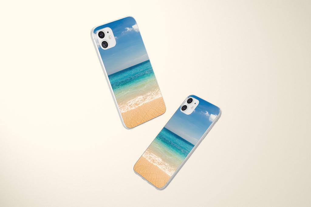 iPhone 11 case with Beach and Ocean design made by Life By Design Creations both sides view