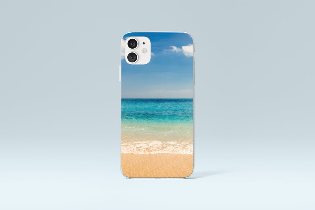 iPhone 11 case with Beach and Ocean design made by Life By Design Creations front view