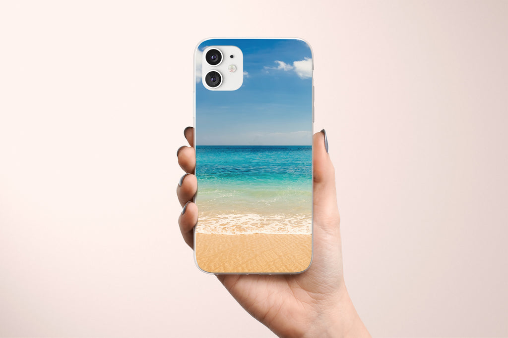 iPhone 11 case with Beach and Ocean design made by Life By Design Creations hand held view