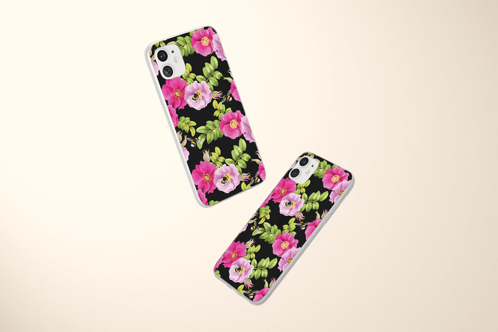 iPhone 11 case with Dog Rose and Bees design made by Life By Design Creations  both sides view