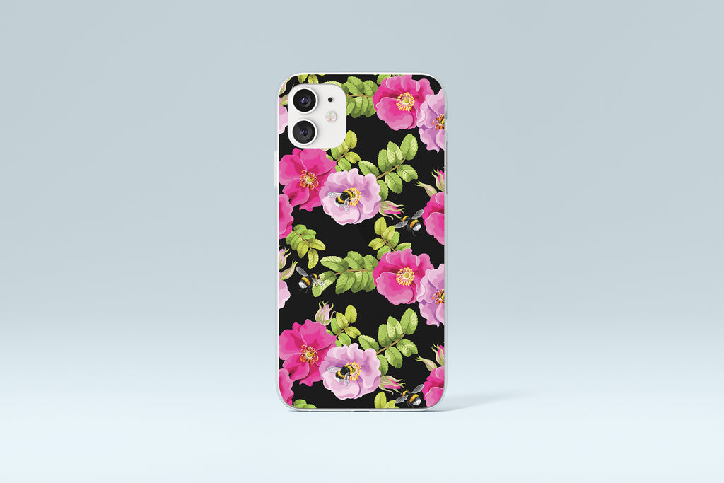 iPhone 11 case with Dog Rose and Bees design made by Life By Design Creations  front view