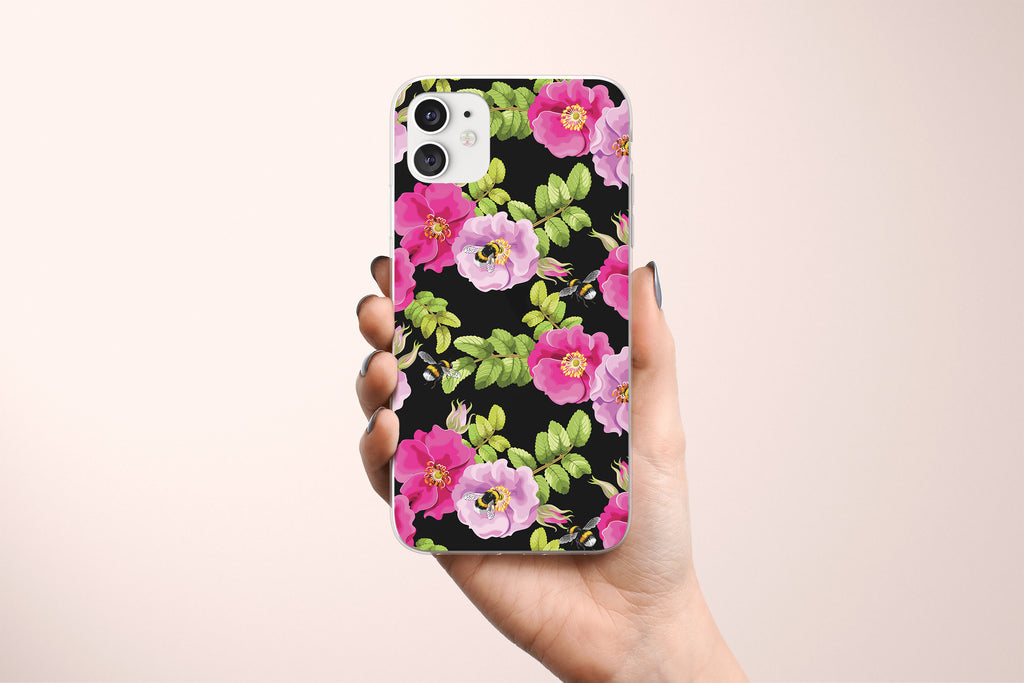 iPhone 11 case with Dog Rose and Bees design made by Life By Design Creations  hand held view