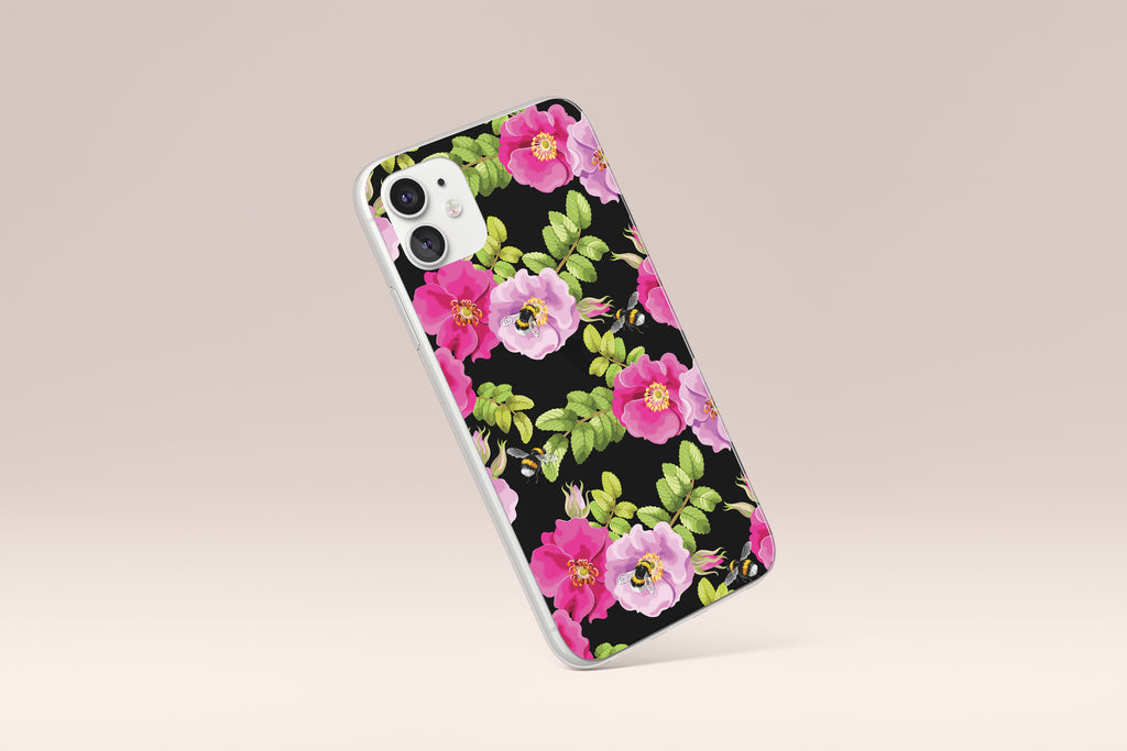 iPhone 11 case with Dog Rose and Bees design made by Life By Design Creations  left side view