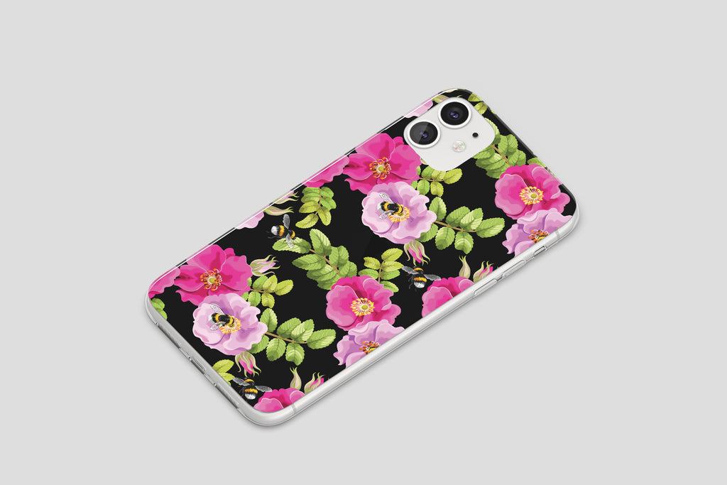 iPhone 11 case with Dog Rose and Bees design made by Life By Design Creations  right side view