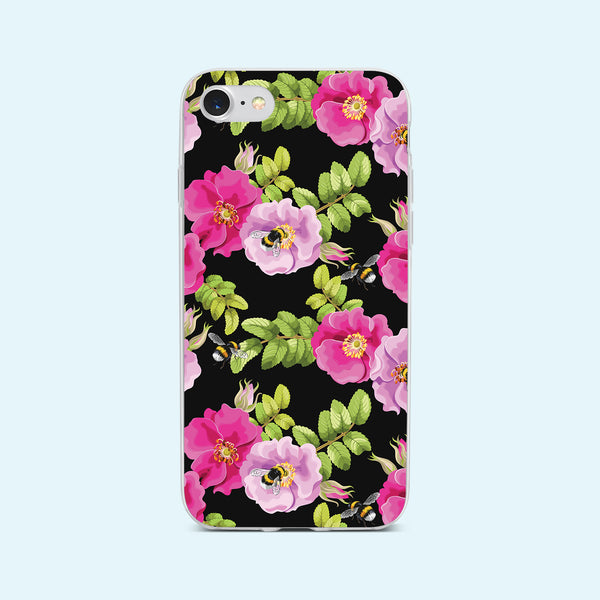 iPhone 7 case with Dog Rose and Bees design made by Life By Design Creations front view