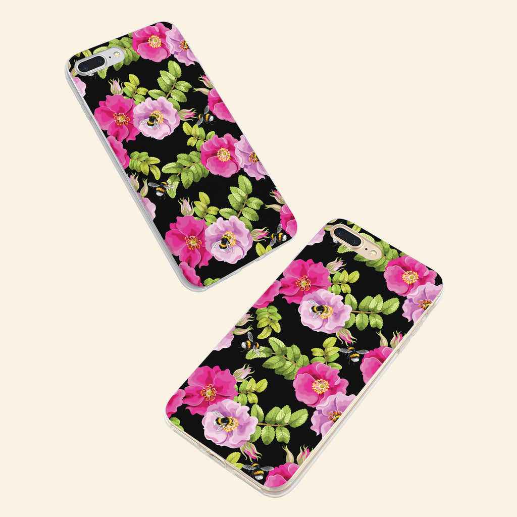 iPhone 7+ case with Dog Rose and Bees design made by Life By Design Creations both sides view