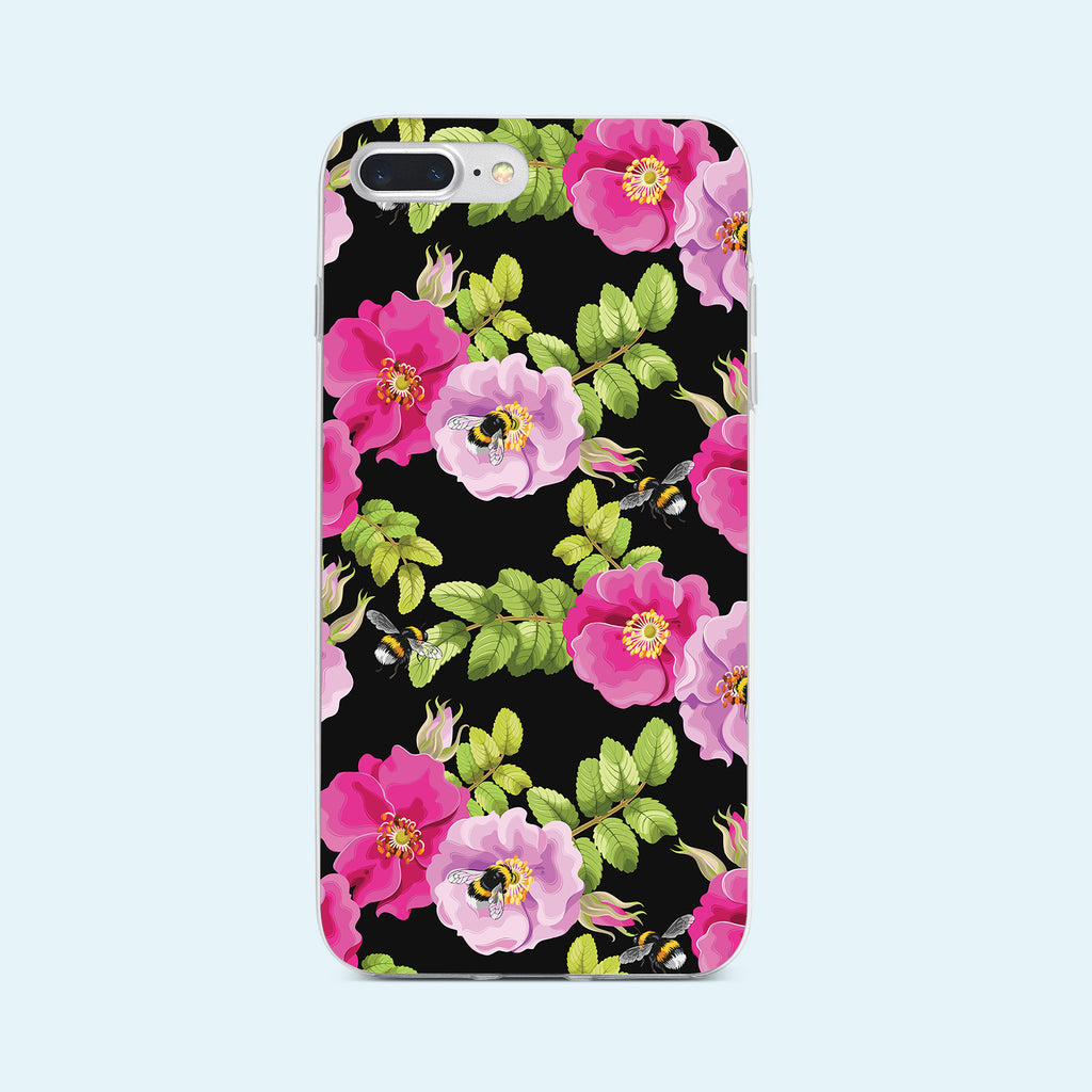 iPhone 7+ case with Dog Rose and Bees design made by Life By Design Creations front view