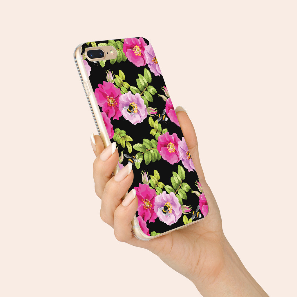 iPhone 7+ case with Dog Rose and Bees design made by Life By Design Creations hand held view
