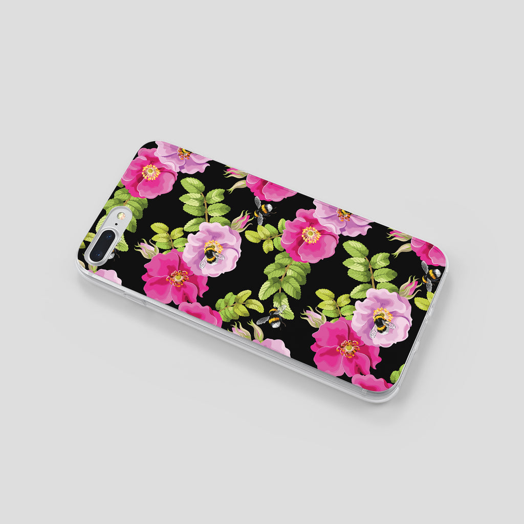 iPhone 7+ case with Dog Rose and Bees design made by Life By Design Creations left side view