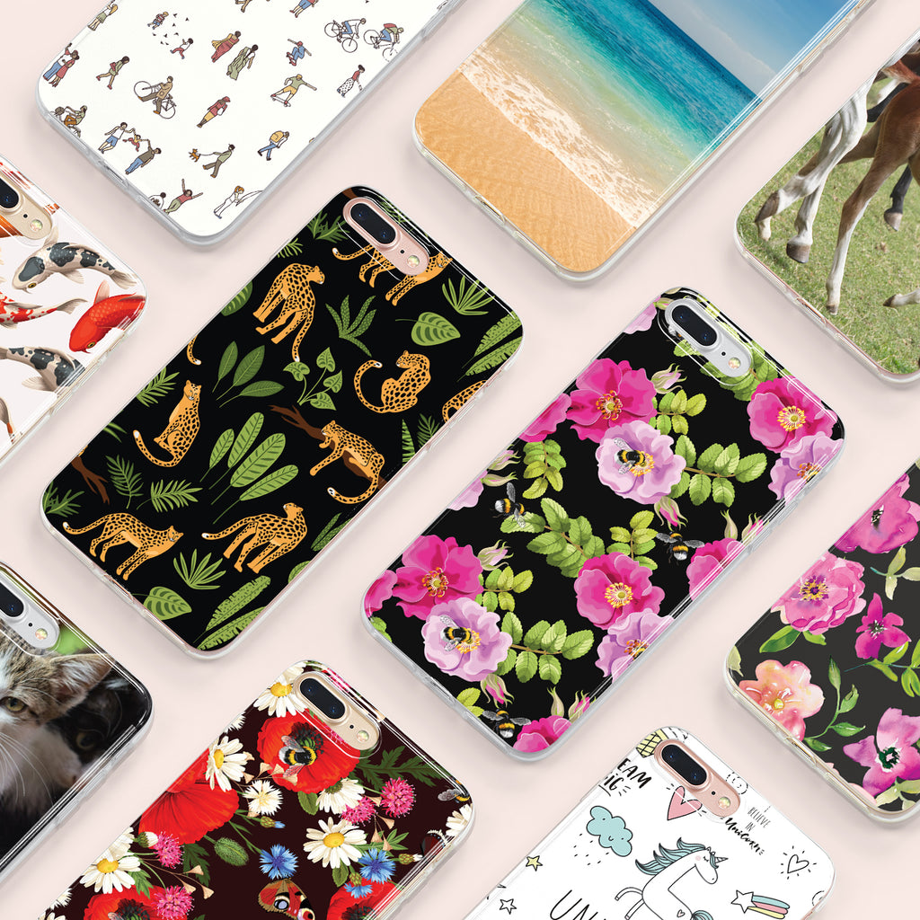 iPhone 7+ case with Dog Rose and Bees design made by Life By Design Creations many designs view