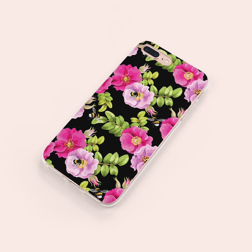 iPhone 7+ case with Dog Rose and Bees design made by Life By Design Creations right side view