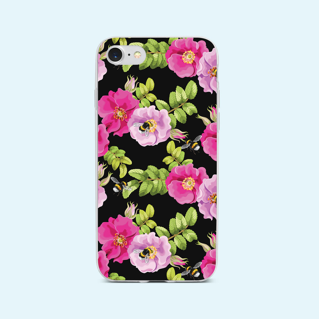 iPhone 8 case with Dog Rose and Bees design made by Life By Design Creations  front view
