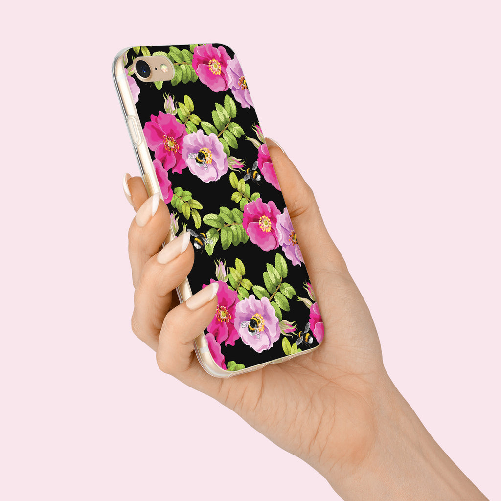 iPhone 8 case with Dog Rose and Bees design made by Life By Design Creations  hand held view