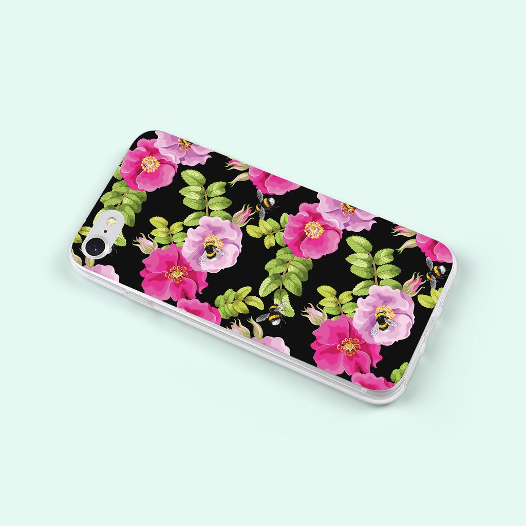 iPhone 8 case with Dog Rose and Bees design made by Life By Design Creations  left side view