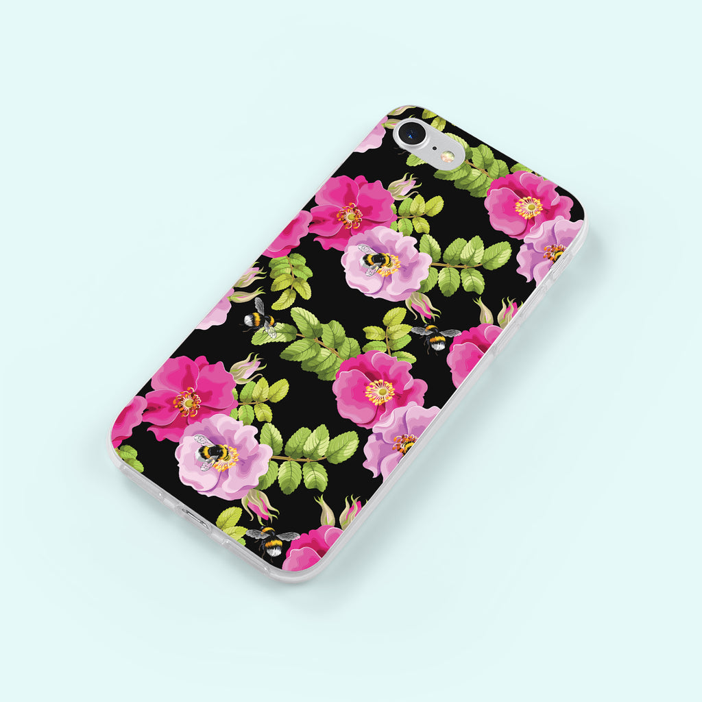 iPhone 8 case with Dog Rose and Bees design made by Life By Design Creations  right side view