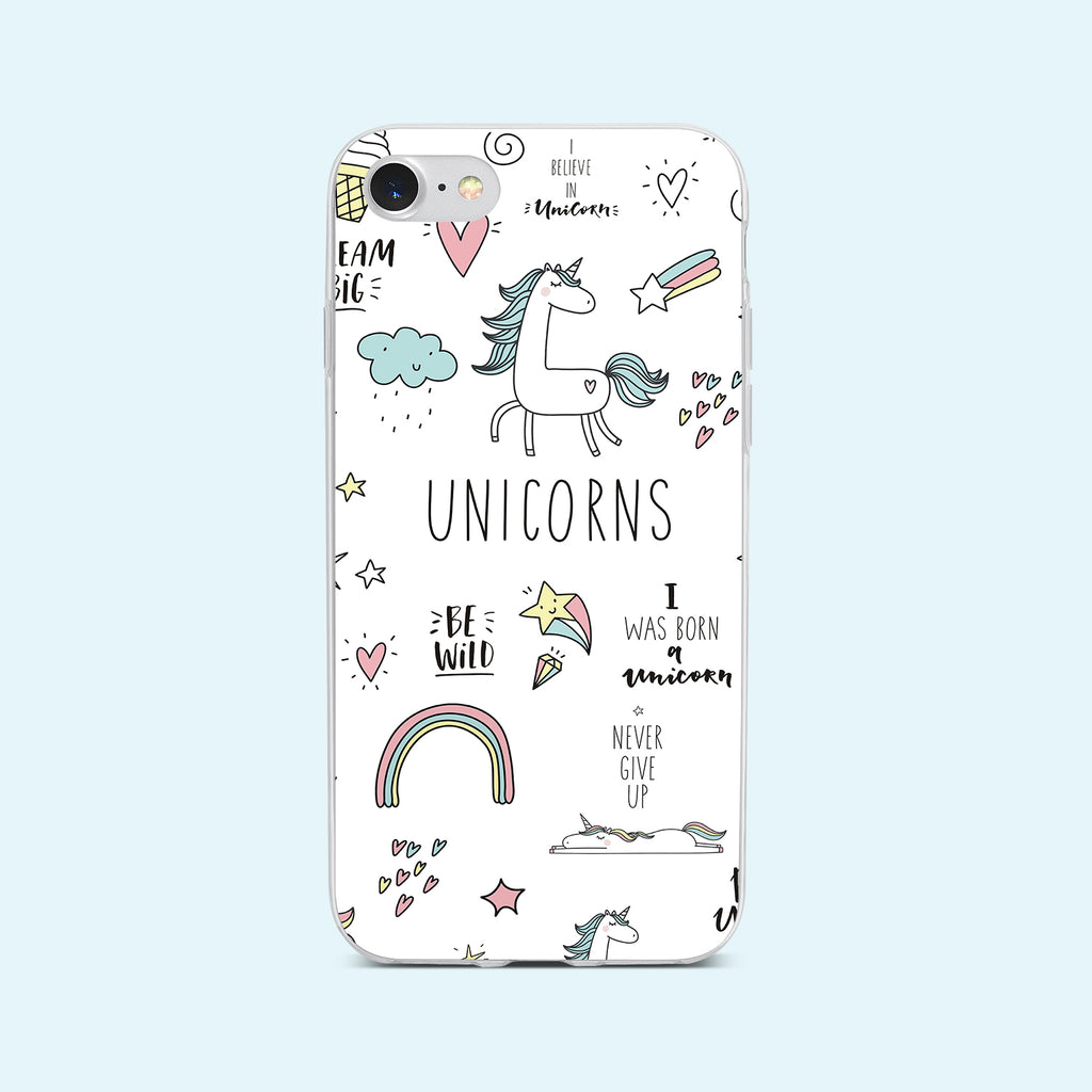 iPhone 8 case with Unicorn Power design made by Life By Design Creations  front view