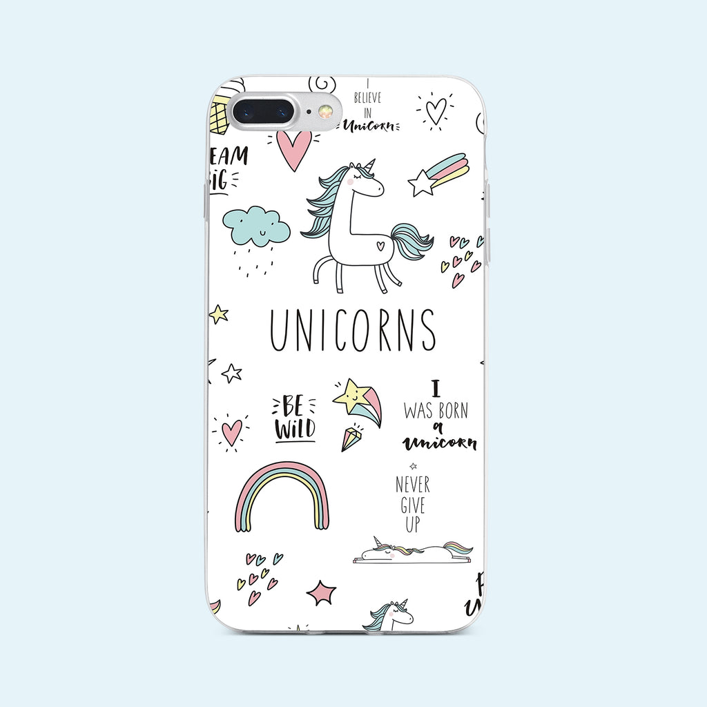 iPhone 8+ case with Unicorn  Power design made by Life By Design Creations  front view