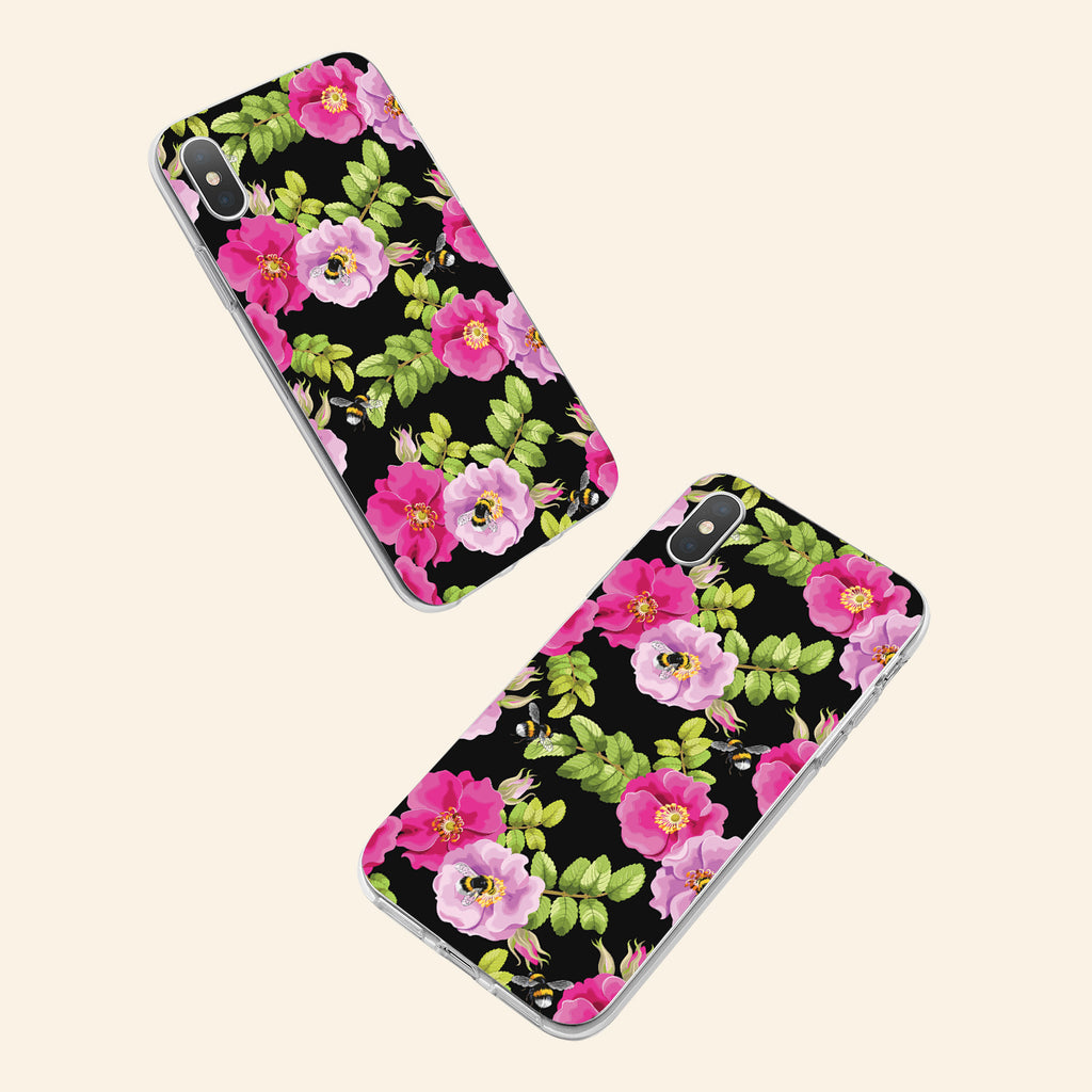 iPhone XS Max case with Dog Rose and Bees design made by Life By Design Creations  both sides view