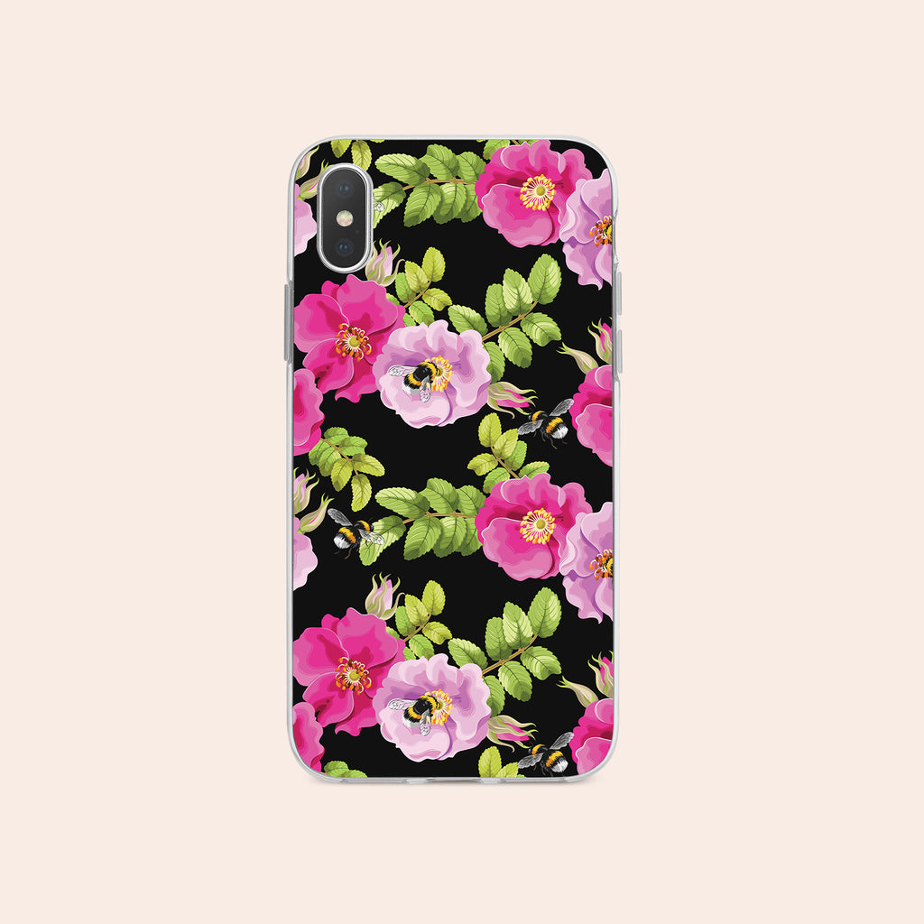 iPhone XS Max case with Dog Rose and Bees design made by Life By Design Creations  front view