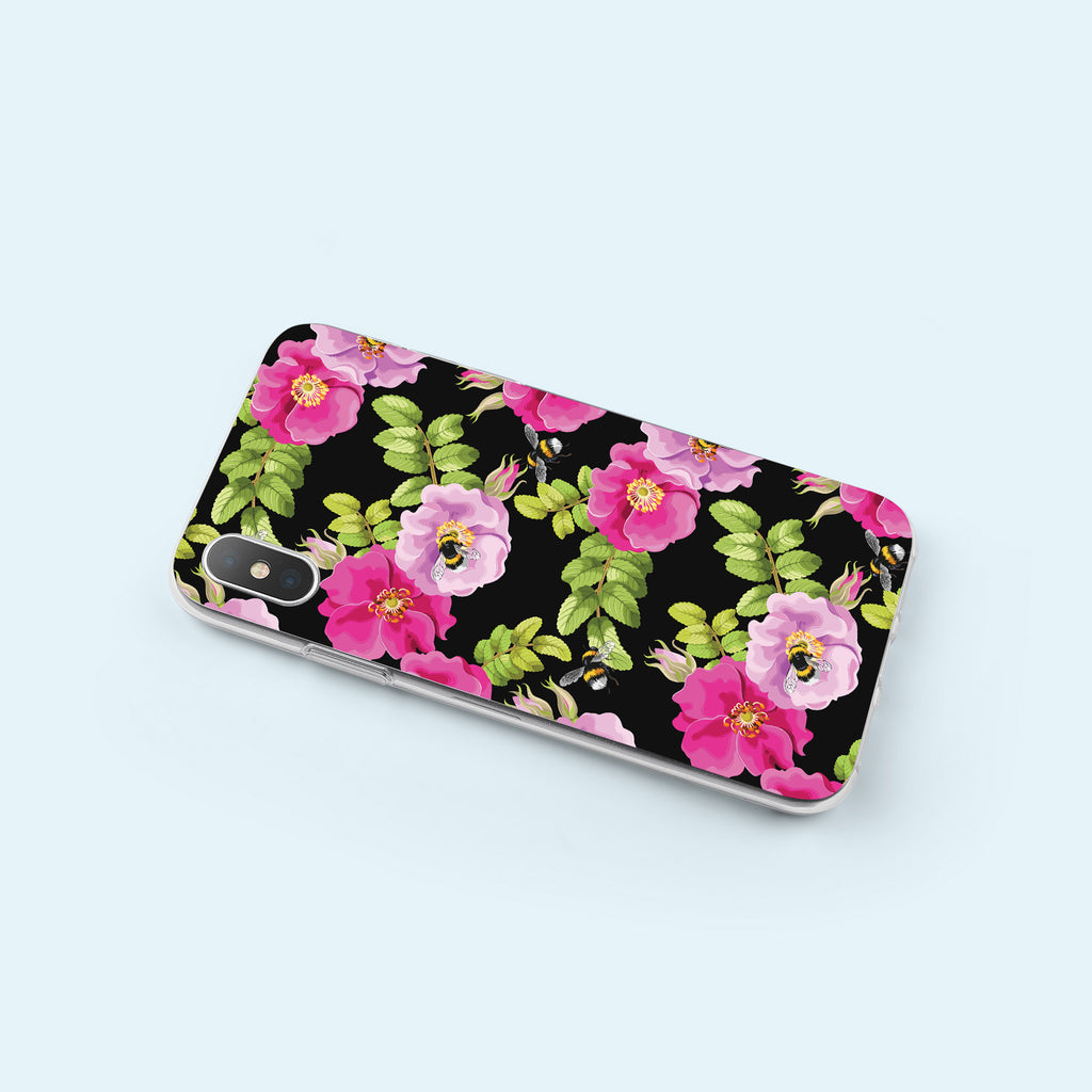 iPhone XS Max case with Dog Rose and Bees design made by Life By Design Creations  left side view