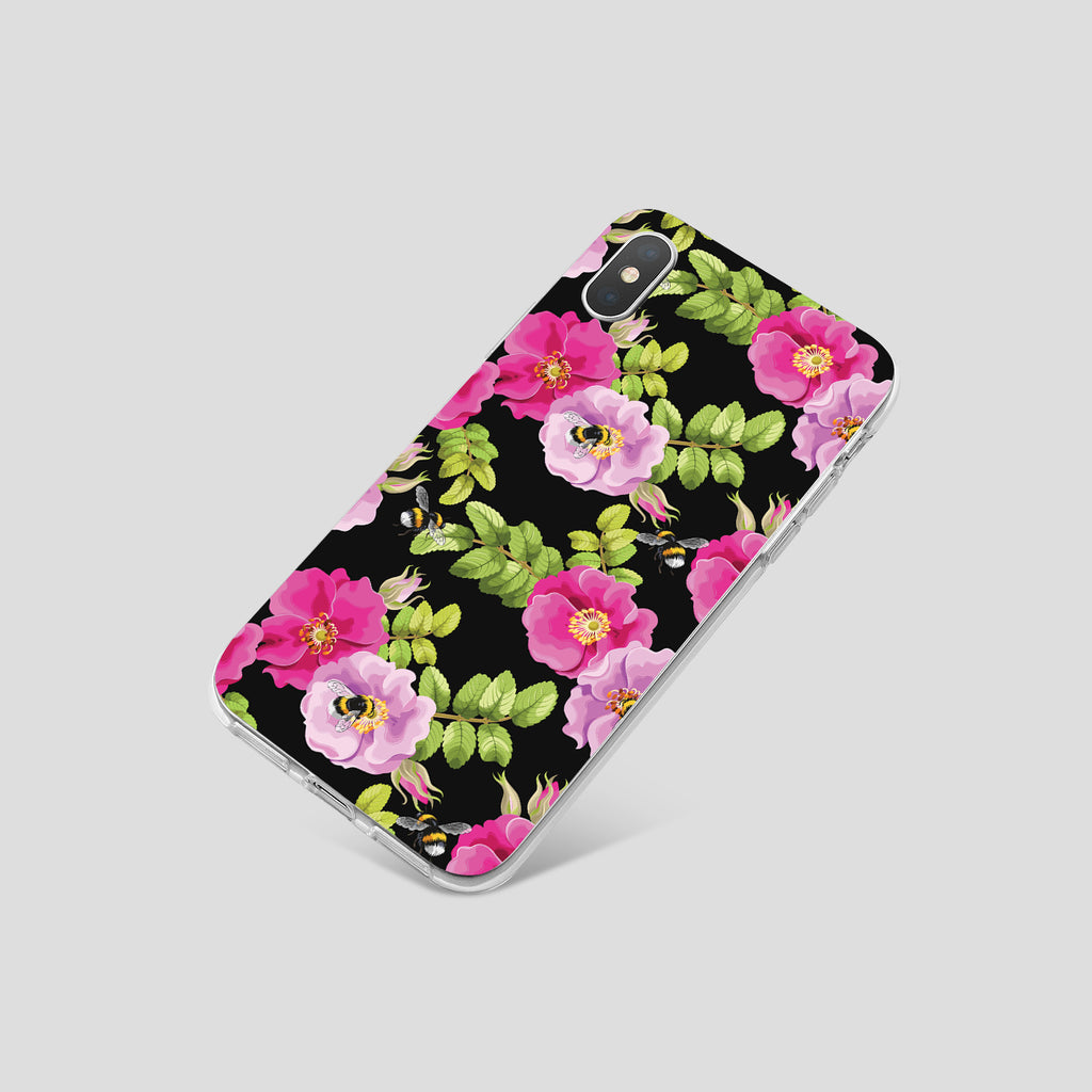 iPhone XS Max case with Dog Rose and Bees design made by Life By Design Creations  right side view
