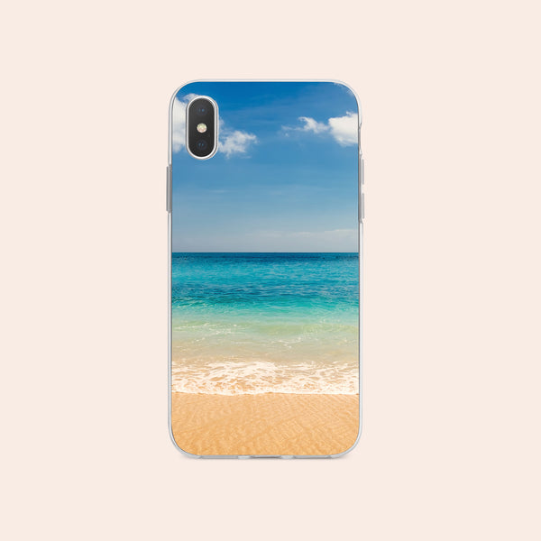 iPhone XS case with Beach and Ocean design made by Life By Design Creations  front view