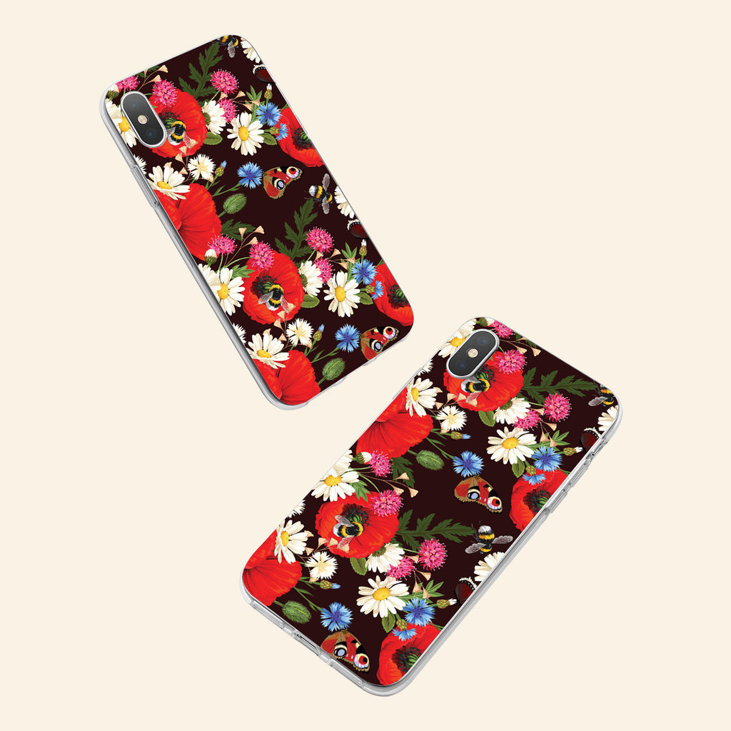 iPhone XS case with Summer Flowers design made by Life By Design Creations  both sides view