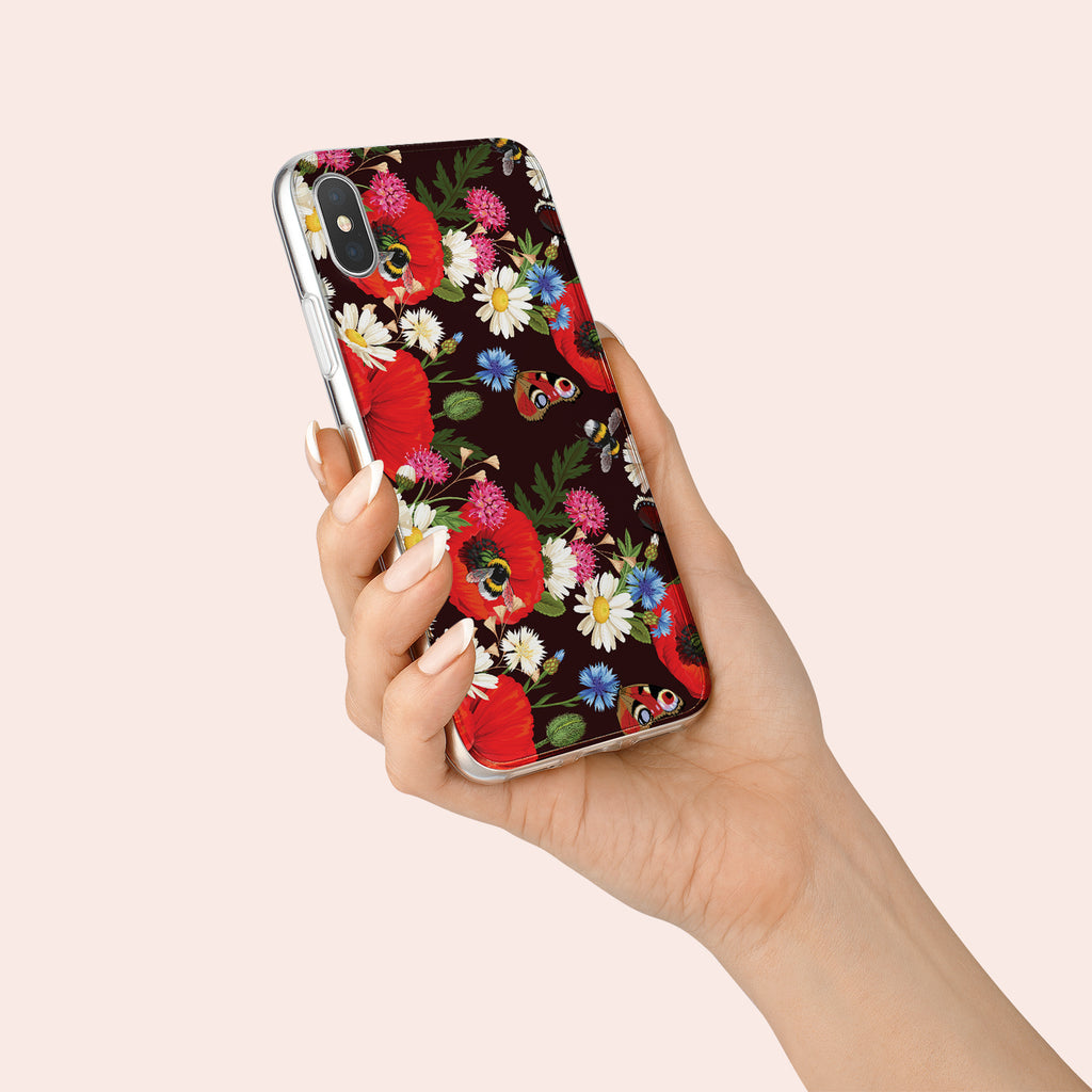 iPhone XS case with Summer Flowers design made by Life By Design Creations  hand held view