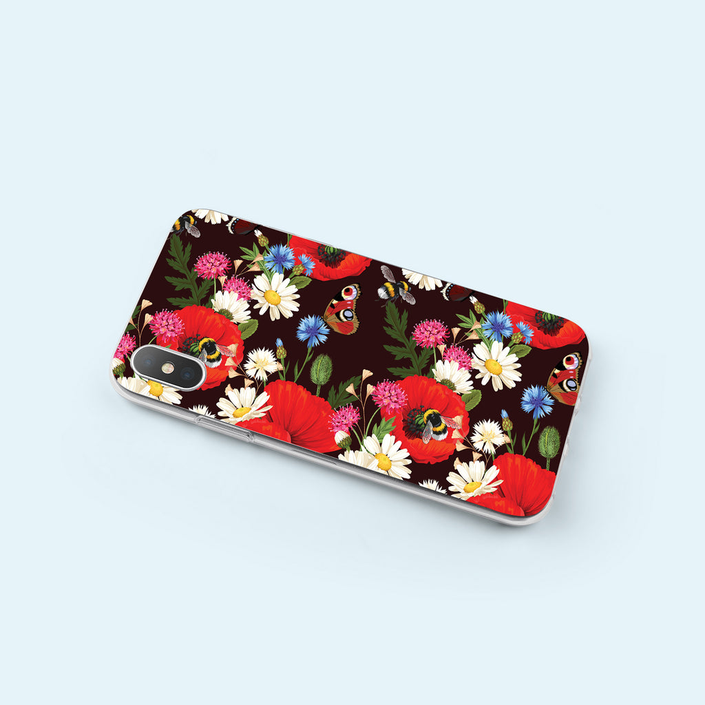 iPhone XS case with Summer Flowers design made by Life By Design Creations  left side view