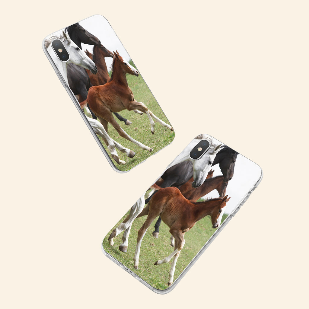 iPhone XS case with Wild Horses design made by Life By Design Creations  both sides view
