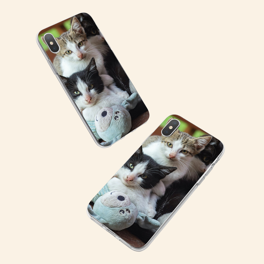 iPhone X case with Cozy Kittens design made by Life By Design Creations  both sides view