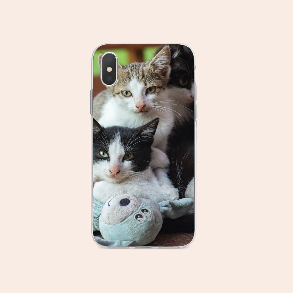 iPhone X case with Cozy Kittens design made by Life By Design Creations  front view