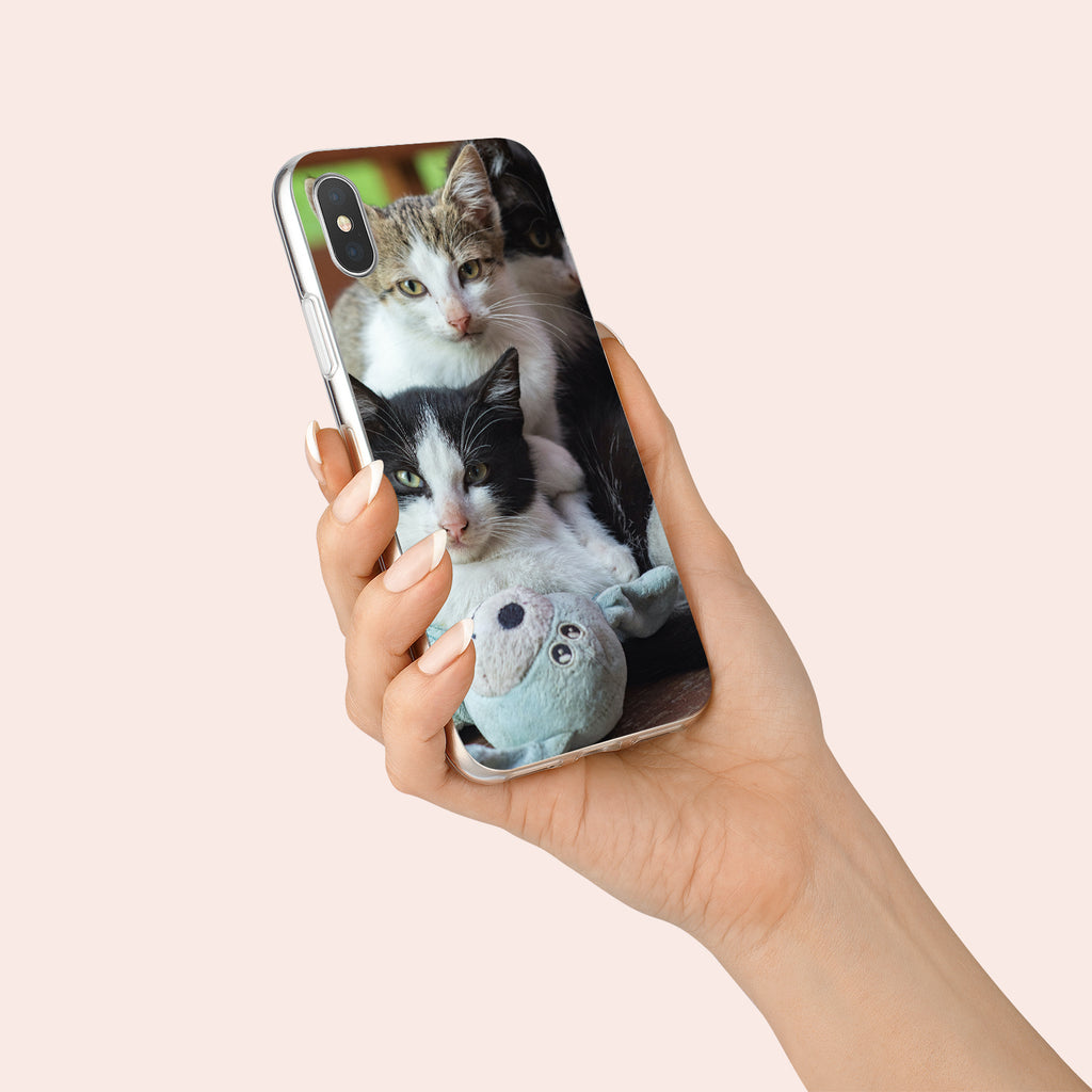 iPhone X case with Cozy Kittens design made by Life By Design Creations  hand held view