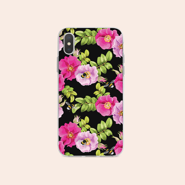 iPhone X case with Dog Rose and Bees design made by Life By Design Creations  front view