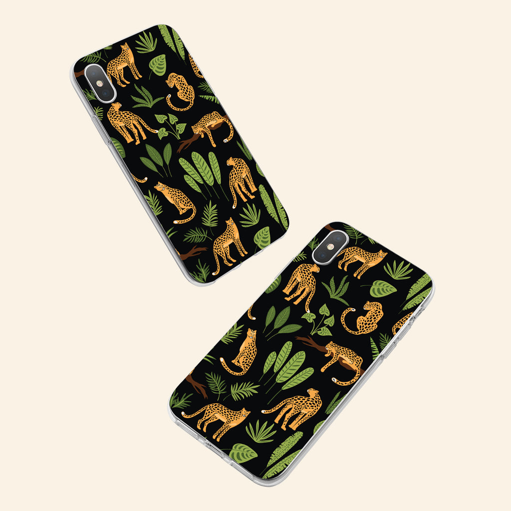 iPhone X case with Jaguar Jungle design made by Life By Design Creations  both sides view