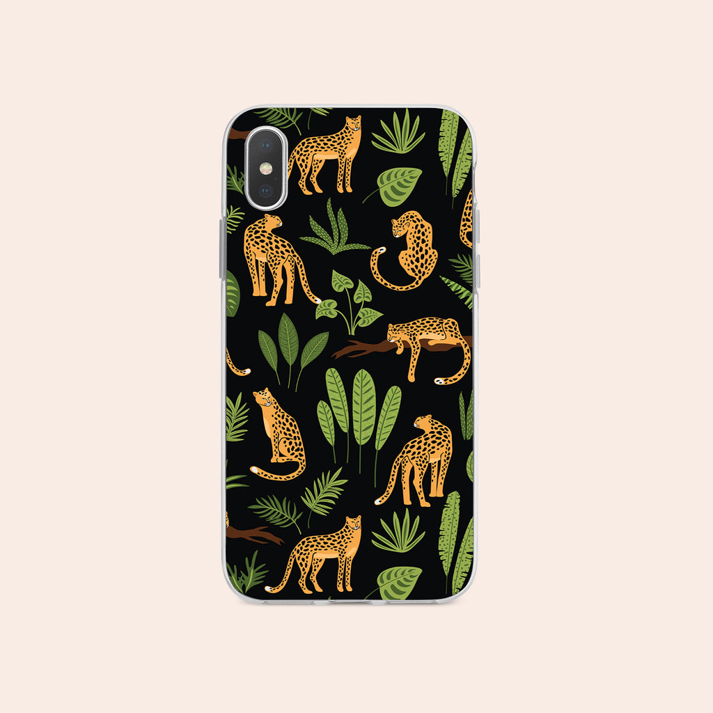iPhone X case with Jaguar Jungle design made by Life By Design Creations  front view