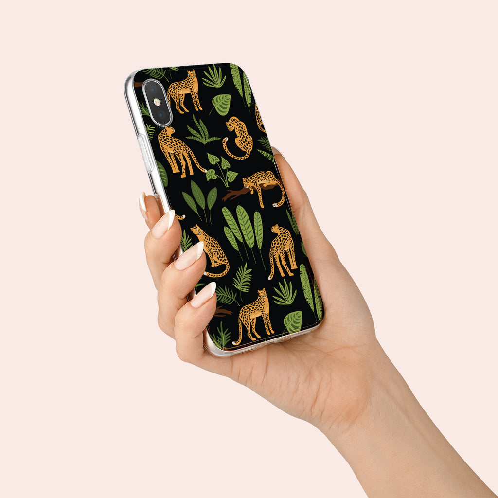 iPhone X case with Jaguar Jungle design made by Life By Design Creations  hand held view