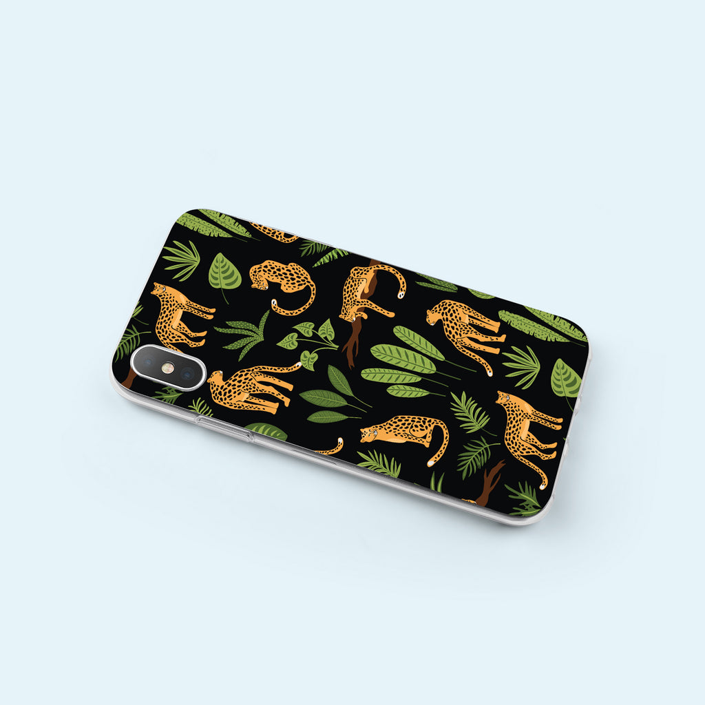 iPhone X case with Jaguar Jungle design made by Life By Design Creations  left side view