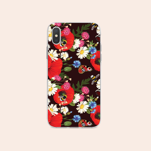 iPhone X case with Summer Flowers design made by Life By Design Creations  front view