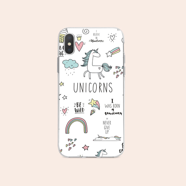 iPhone X case with Unicorn Power design made by Life By Design Creations  front view