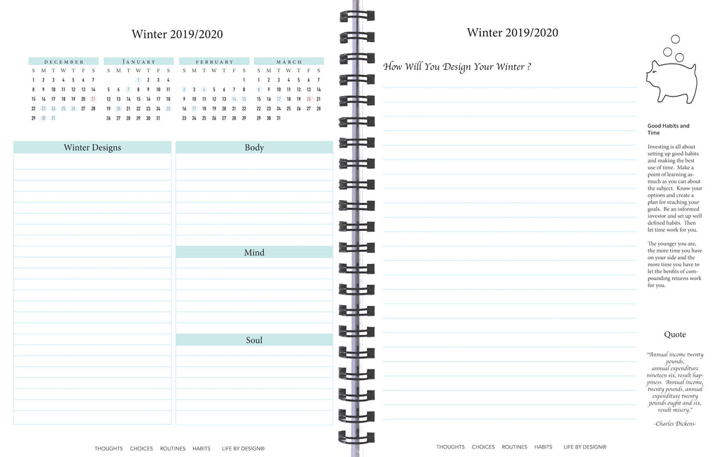 Quarterly view 2020 Life By Design Planner Investor's Edition