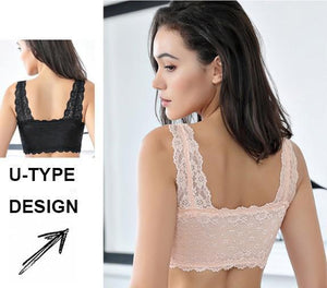 Large Massage Front Zip Wire-Free Sleep Lace Bra