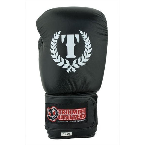 TU Pro Trainer Leather Boxing Gloves - Black - Triumph United
