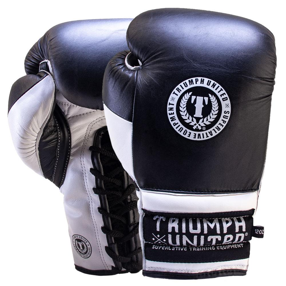TU Death Adder Sparring Gloves - Lace Up - Black/White - Triumph United