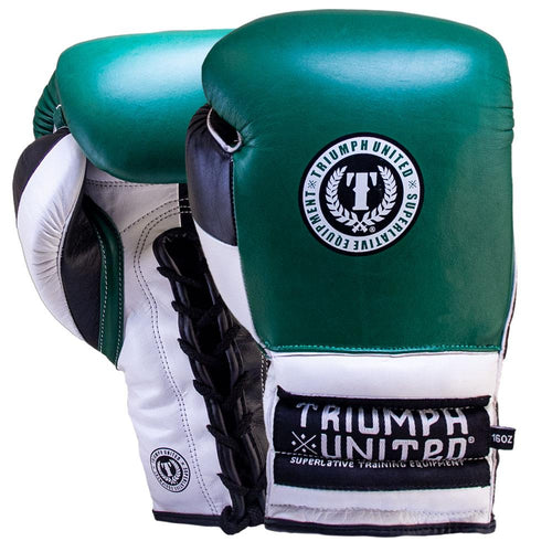 TU Death Adder Sparring Gloves - Lace Up - Green/White/Black - Triumph United