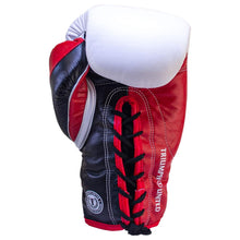 Load image into Gallery viewer, TU Death Adder Sparring Gloves - Lace Up - White/Red/Black - Triumph United