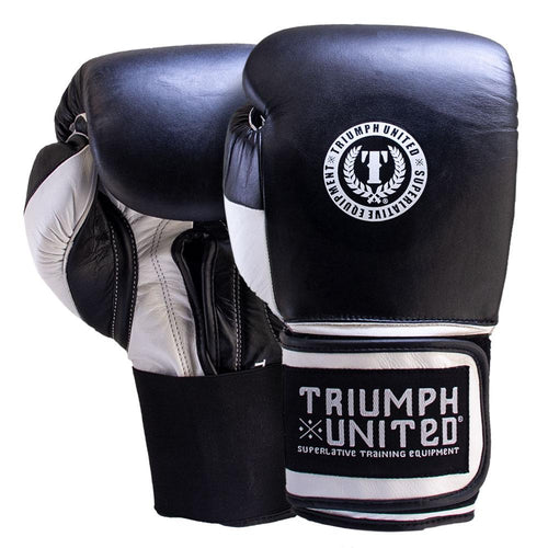 TU Death Adder Sparring Gloves - Velcro - Black/White - Triumph United